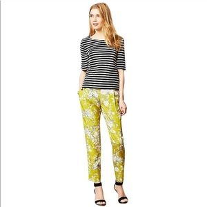Anthro,Elevenses Green Gray White Floral Pants 311